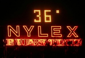 The famous Nylex sign at Richmond reads 36 degrees - at 10.30pm.